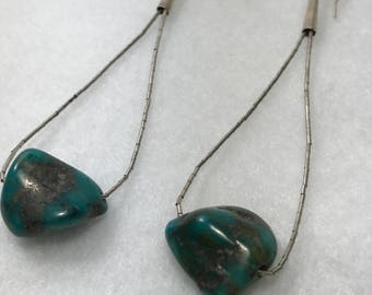 Bisbee Turquoise Nugget Sterling Silver Dangle Earrings