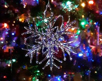Handmade Clear Glass Snowflake Ornament ~ tri-tip design~