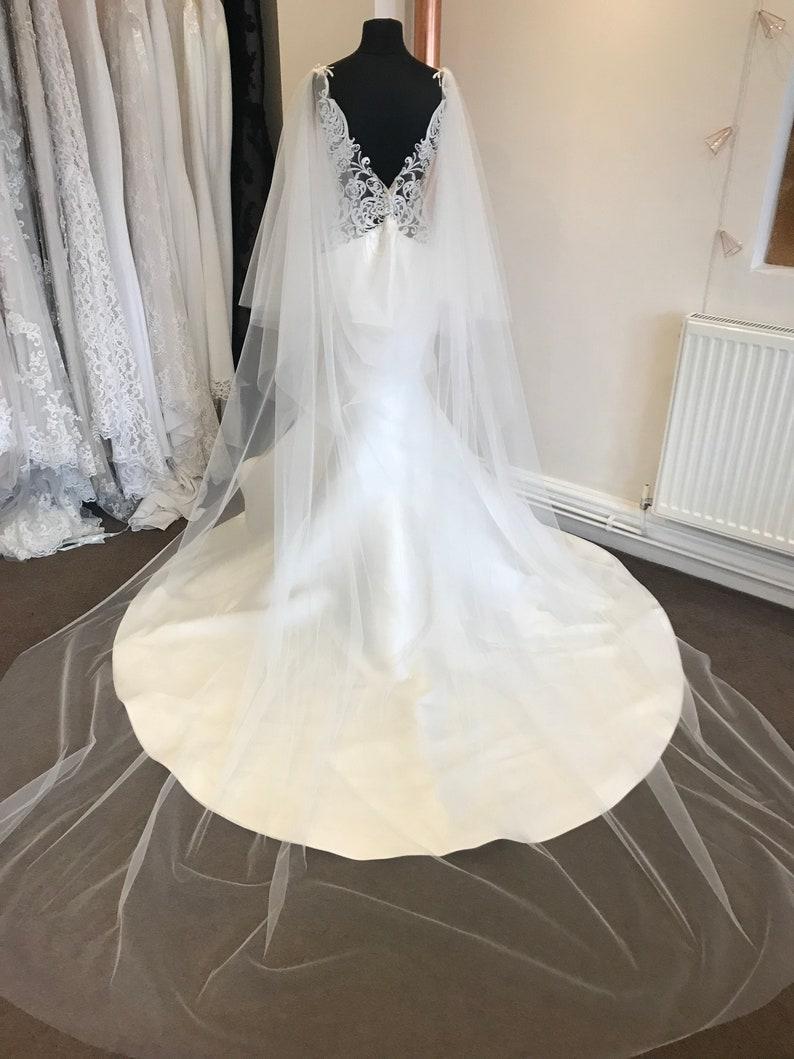 Wedding Bridal Cape Tulle Cathedral Full Length Drape Etsy