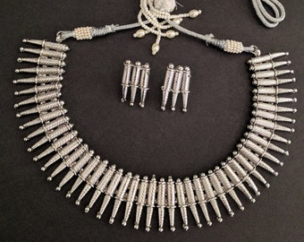 Indian Mullu Necklace, Indian Silver Necklace, Indian Bridal Jewelry, Bollywood, Ethnic, Polki, Kemp Temple Jewelry, South Indian Jewelry