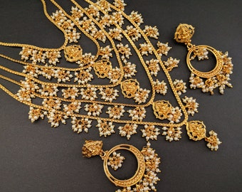 Rani Haar W Lakshmi Pendants, Pearl Long Haar, Indian Necklace, Indian Bridal Jewelry,Indian Wedding Jewelry,Bollywood, Temple Jewelry,Polki