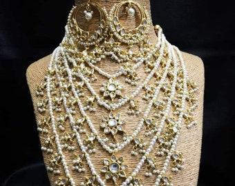 Pearl & Kundan Rani Haar, Long Haar, Indian Necklace,Indian Bridal Jewelry,Indian Wedding Jewelry,Bollywood,Ethnic,Statement Necklace,Polki