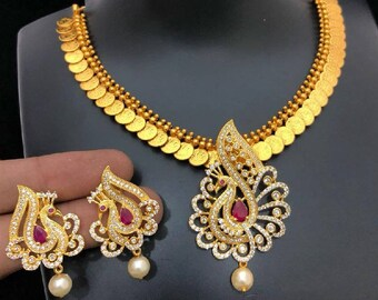 Gold CZ Necklace, Cubic Zircon Necklace W Earrings, Bridal Necklace,Bridal Jewelry,BollywoodJewelry,Statement Necklace,Polki, Temple Jewelry