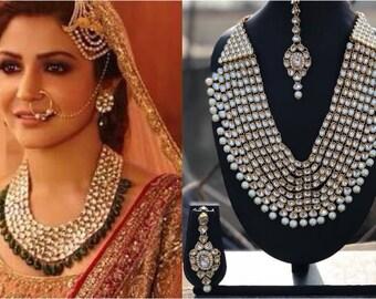INDIAN KUNDAN NECKLACE | Necklace Set W Earrings, MaangTika,Indian Jewelry,Bridal Jewelry,Bollywood,Ethnic,Statement Necklace,Polki Necklace