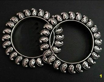 Silver Kada Bangles, Paisley Bangles, Bollywood Jewelry, Tribal Jewelry,Oxidized Silver Jewelry,Statement German Silver Kada , Banjara, Boho