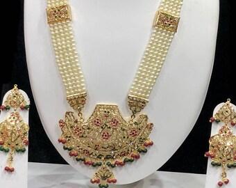 Punjabi Jadau Rani Haar, Necklace Set W Earrings,Indian Jewelry,Bridal Jewelry, Bollywood,Ethnic,Statement Necklace,Polki Necklace,Moti Haar