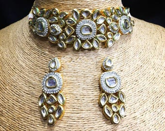 INDIAN KUNDAN NECKLACE | Kundan Necklace Set with Earrings,Indian Jewelry,Bridal Jewelry, Bollywood,Ethnic,Statement Necklace,Polki Necklace