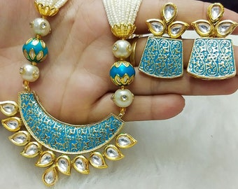 Indian Thewa Necklace, Kundan Necklace Set with Earrings,Indian Jewelry, Bridal Jewelry, Bollywood,Ethnic,Statement Necklace,Polki Necklace