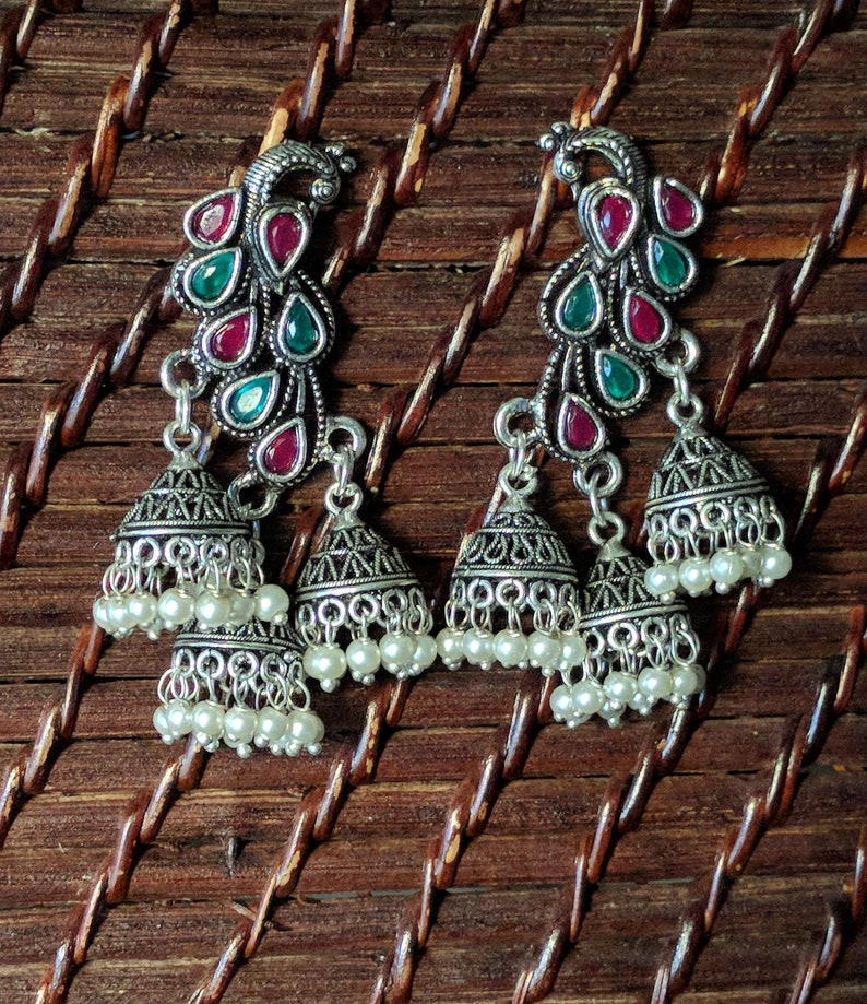 b6bdff8f1 Peacock Jhumka Earrings Silver Jhumka/ Jhumki Oxidized | Etsy