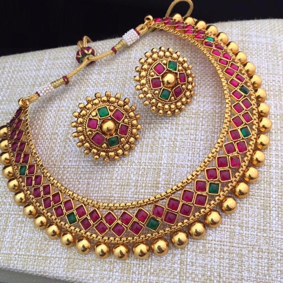 a05cb6a9f40a3 Kemp Choker Necklace, Gold Plated Kemp Necklace, South Indian Jewelry,  Bridal Jewelry,Bollywood,Ethnic, Polki, Bridal Necklace, Kemp Jewelry
