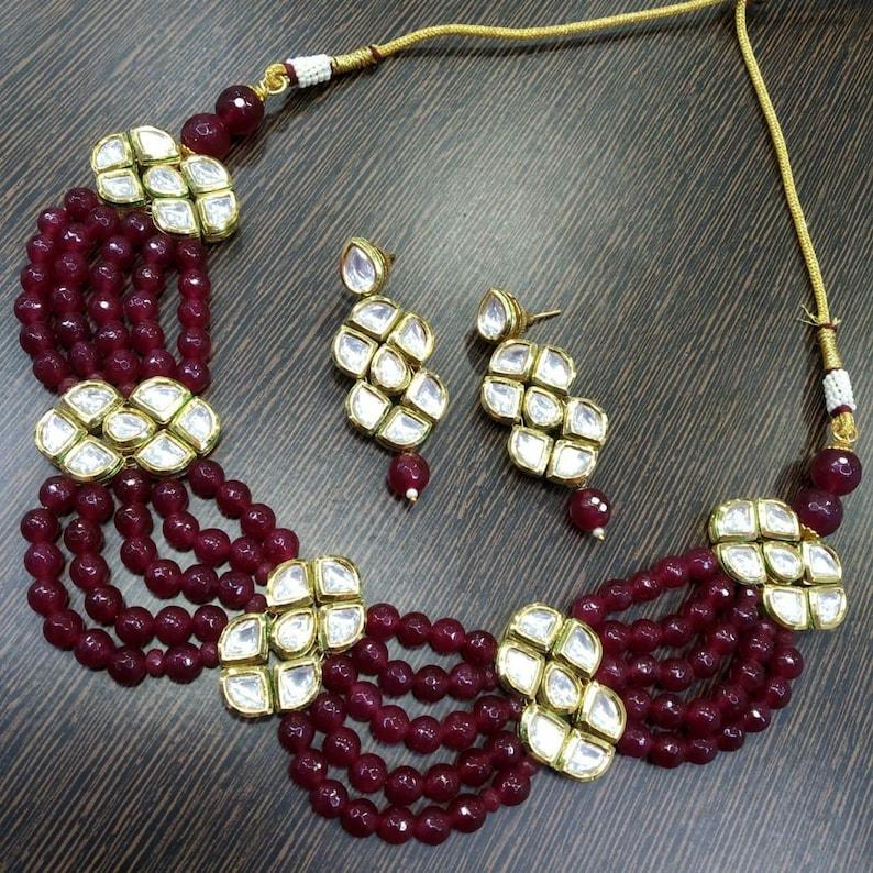 Bridal Jewelry,Bollywood,Ethnic,Statement Necklace,Polki Necklace,Rani Haar INDIAN KUNDAN NECKLACE Onyx Bead Kundan Choker Indian Jewelry