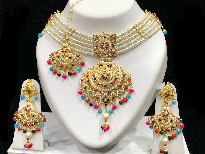 Sets Responsible Bollyoowd Goldplated Bridal Necklace Earrings Maang Tikka Set Fashion Jewellery Good Heat Preservation