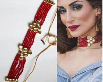 Indian Kundan Necklace, Kundan & Crystal Beads Choker, Indian Jewelry, Bridal Jewelry, Bollywood, Ethnic, Statement Necklace, Polki Necklace