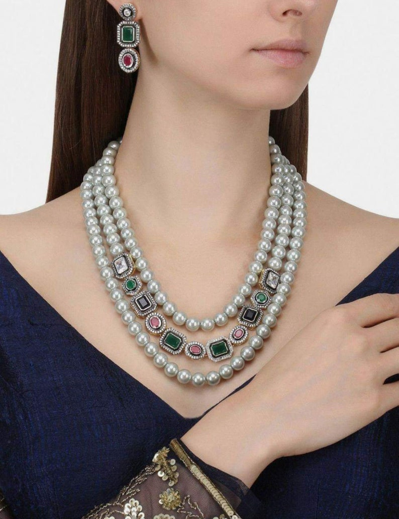 Victorian Pearl Necklace, Pearl & CZ Rani Haar, Indian Bridal Jewelry,  Indian Wedding Jewelry, Bollywood,Ethnic,Polki  Pearl Bridal Necklace