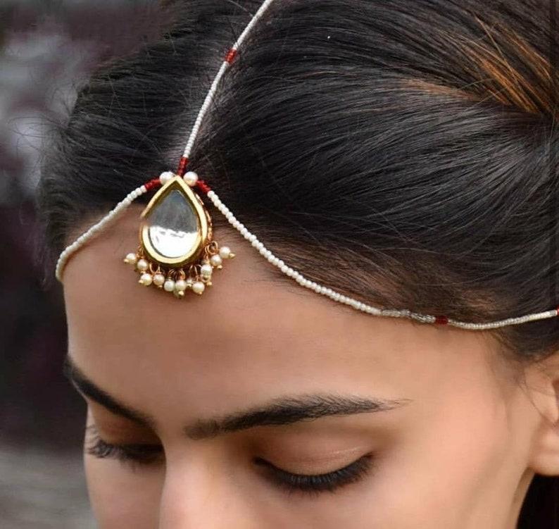 Gold Plated wedding India Fashion jewelry Forehead Maang Tikka Polki Kundan New