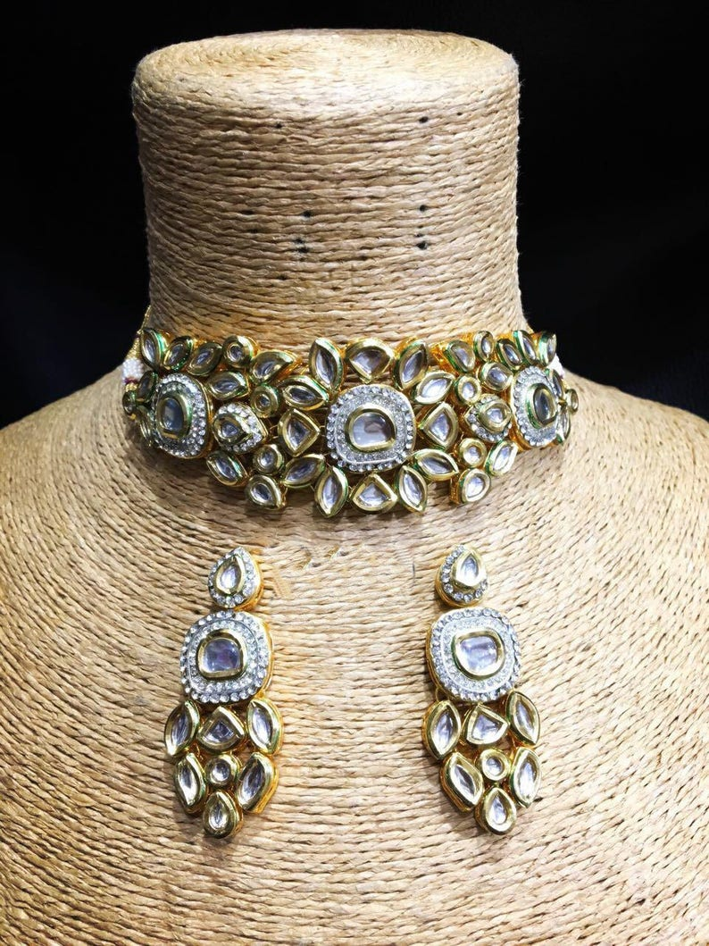 db124e37378e4 INDIAN KUNDAN NECKLACE | Kundan Necklace Set with Earrings,Indian  Jewelry,Bridal Jewelry, Bollywood,Ethnic,Statement Necklace,Polki Necklace