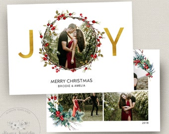 holiday card template etsy