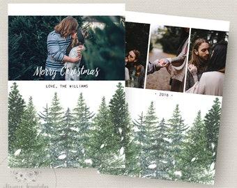 Photo Christmas Card Template, Christmas Card Template, Photoshop Christmas Card Template, Holiday Card Template, PSD Template, 5x7