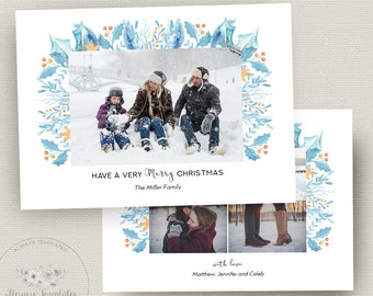 Holiday Card Template, Christmas Card Template, Photo Christmas Card Template, Photoshop Christmas Card Template, PSD Template, 5x7 Card