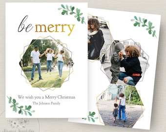 Photo Christmas Card Template, Christmas Card Template, Photoshop Christmas Card Template, Holiday Card Template, PSD Template, 5x7 Card