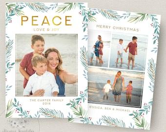 Photo Christmas Card Template, Photoshop Christmas Card Template, PSD Christmas Card Template, Holiday Card Template, PSD Template, 5x7 Card