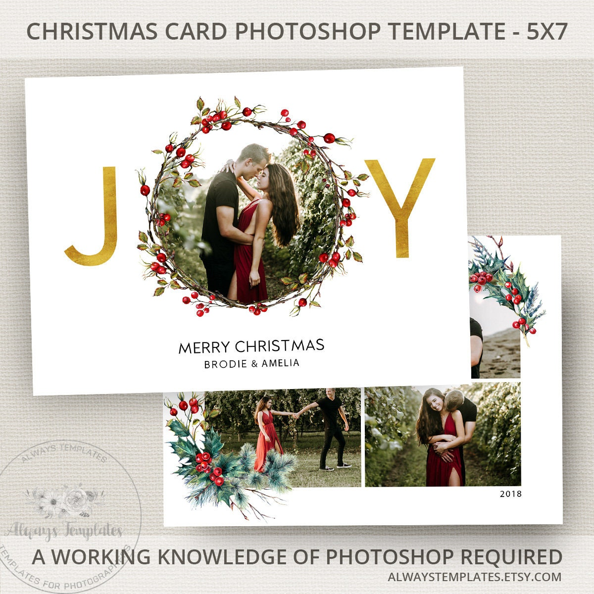 Examples Of Christmas Cards To Make: Joy Photo Christmas Card Template Joy Christmas Card