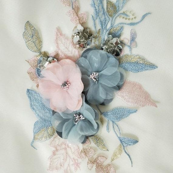 Beaded Sewing on DIY Trim 3D Floral Wedding Dress Motif Bridal Lace Applique 1PC