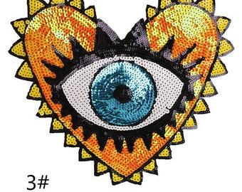 1 PC Iridescent Eye Heart Applique,Paillette Heart Patch,Iridescent Hot Pink Patch,Diy Supplies,T-Shirt Applique,