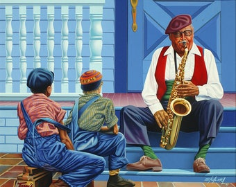 Me and My Sax // Giclee on Canvas