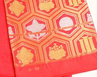 Authentic Japanese Vintage Silk Fukuro Obi Belt Persimmon Gold Hexagon Crest M152