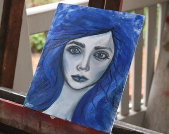 Blue Hair, Original Oil Painting