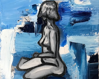 Study of the Body in Blue - Original Oil Painting
