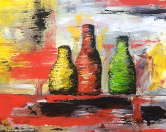 Bottles - Abstract Palette Knife Oil Painting