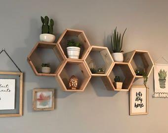 hexagon shelves etsy rh etsy com hexagon wall shelves canada hexagon wall shelves diy