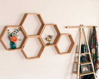 "Set of 5 Large 3.5"" Deep Hexagon Shelves,  Honeycomb Shelves, Floating Shelves, Geometric Shelves"