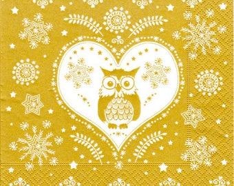 2 napkins paper OWL heart Frost (281)