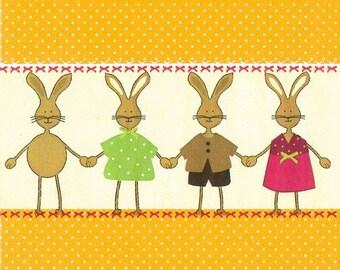 2 rabbit (302) paper napkins