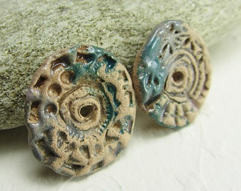 Handmade Ceramic Conectors, Bohemian Earrings Charms, Boho Ceramic Components, Handmade Jewelry Component