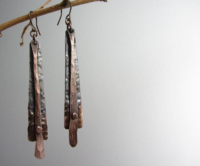 Long Metal Earrings Handmade Long Dagle Earrings Long Hammered Copper Earrings Copper Jewelry Handmade Handmade Boho Earrings Dangle