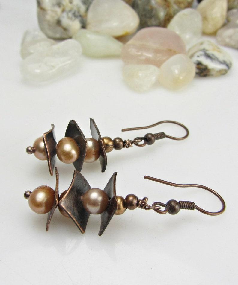Copper Anniversary Gift for Women Pearl Copper Handmade Earrings Copper Jewelry Handmade