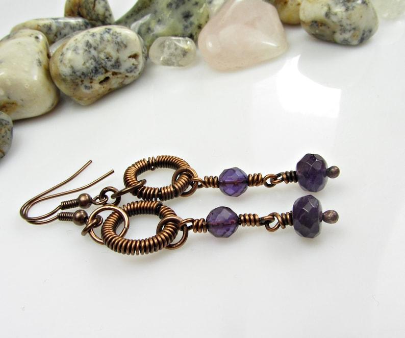 Copper Anniversary Handmade Copper Jewelry Long Stone Earrings Amethyst Gemstone Earrings Wire Wrapped Earrings Dangle Gift for Women