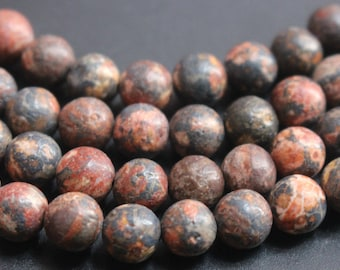 6mm 8mm 10mm 12mm 14mm Red Leopardskin Jasper Gemstone Beads,15 inch strands.