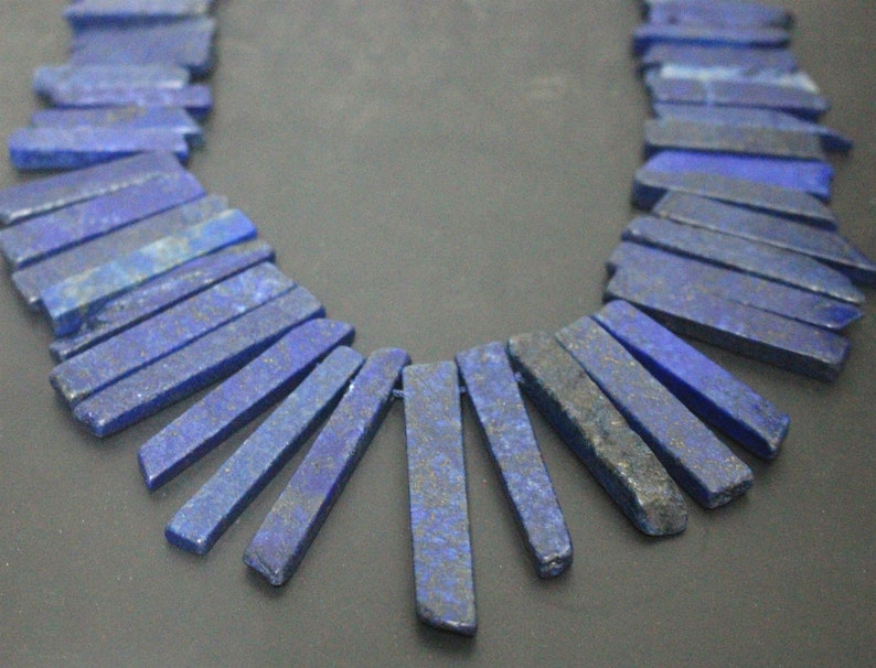 15 Inches Lapis lazuli raw mineral Slabs Slices Dagger Nugget Beads,Top Drilled Beads One strand