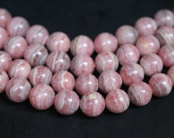 Natural Rhodochrosite Beads , High quality Rhodochrosite Beads ,Smooth Round Loose Stone Beads 6mm,8mm,10mm,12mm,15 inch full strand.