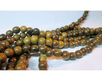 30 beads wood-5 / 6mm - natural shades