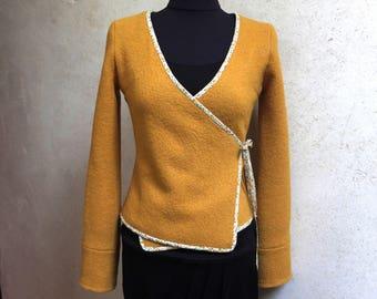 Mustard yellow wrap vest using Liberty