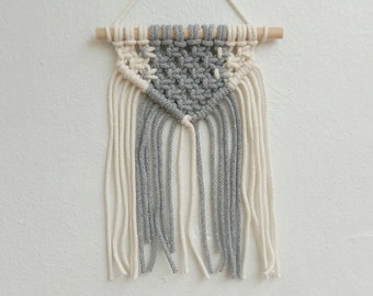 Mini Macrame Wall Hanging in grey and white