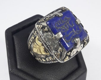 VERY OLD Square Lapis Lazuli Stamp Seal Ring Arabic Carving  Carved Near Eastern Lapis Gold & Silver Pl Ring  Vintage Stamp Seal Stone Ring