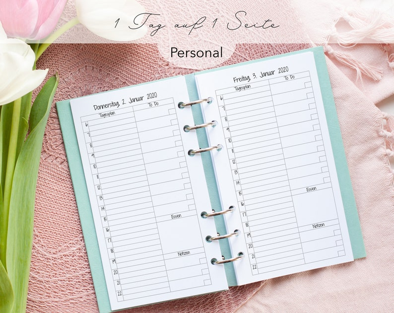 Kalendereinlagen 1T/1S To Do Liste Uhrzeiten Personal image 0