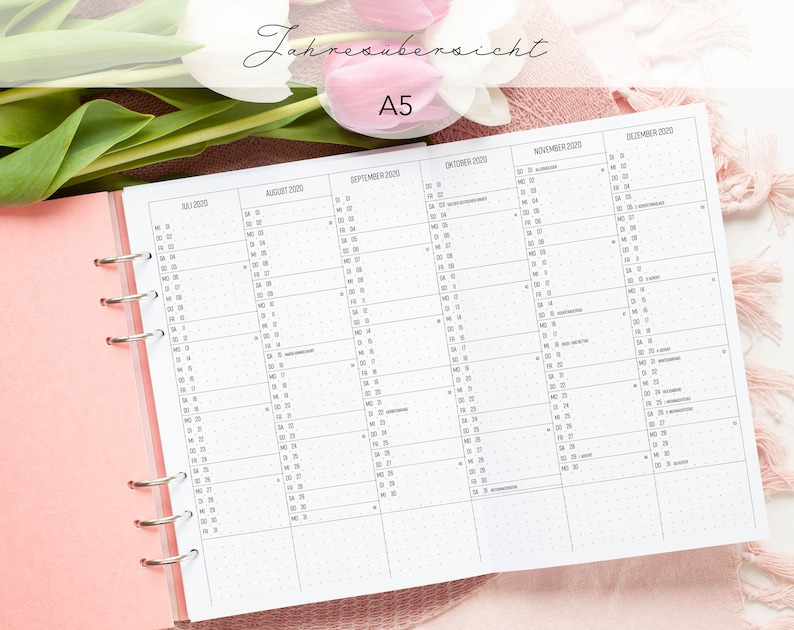 Kalendereinlagen Jahresübersicht aufklappbar A5 image 0